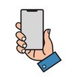 hand holding smart mobile phone showing screen vector image