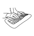 hands without nails on keyboard of computer vector image vector image