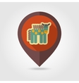 Horse flat mapping pin icon with long shadow vector image