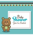 invitation baby shower card with bear desing vector image vector image