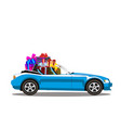 light blue modern cartoon cabriolet car full of vector image