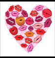 Lip print heart vector image vector image
