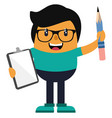 man with pencil and notebook on white background vector image vector image