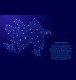 map of azerbaijan from polygonal blue lines vector image vector image