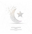 moon and star digitally drawn low poly wire frame vector image vector image