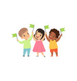 multicultural smiling little kids standing with vector image vector image