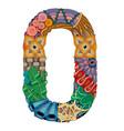 number zero zentangle decorative object number vector image