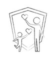 parent father and son holding hearts shield vector image vector image