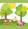 piggy in mud chicken wooden fence tree farm vector image vector image