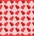 pixelated red hearts on pink background seamless vector image vector image