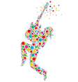 rock star guitarist colorful silhouette vector image vector image