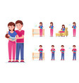 set parents take care their little child vector image vector image