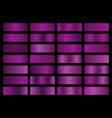 set purple metallic gradients swatches vector image vector image