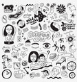 sleeping time - hand drawn doodle set design vector image