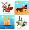 Spain Travel Concept 4 Flat Icons Square vector image vector image