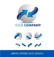 Sphere 3d arrow logo icon design set vector image vector image