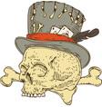 voodoo skull in old hat vector image vector image