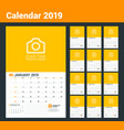 wall calendar planner for 2019 year set of 12 vector image vector image