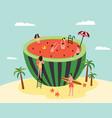 watermelon swimming pool - cartoon people on vector image vector image