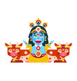 lord krishna sitting in cows environment vector image
