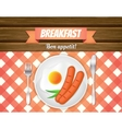 Breakfast table Fried egg sausages on a plate vector image