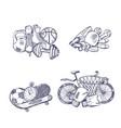 hand drawn sports equipment piles set vector image