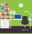 the home workplace of the businessman desk laptop vector image