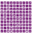 100 conference icons set grunge purple vector image vector image