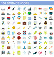 100 science icons set flat style vector image