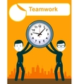 Abstract Businessman holding TimeTeamwork vector image vector image