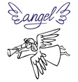 Angel with flute vector image vector image