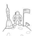 Astronaut with a flag on moon Space rocket ship vector image vector image