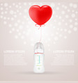 baby milk bottle with red baloon in shape of heart vector image vector image