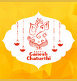beautiful greeting design lord ganesha festival vector image vector image
