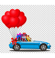blue modern cabriolet car with gifts and bunch of vector image