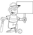 Cartoon boy leaning on a baseball bat holding a si vector image vector image