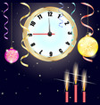 christmas background happy new year clock vector image vector image