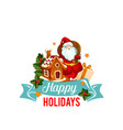 christmas badge of santa with gift bag and cookie vector image