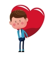 cute boy carrying on back red heart vector image