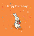cute bunny is holding a gift vector image vector image