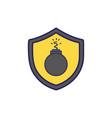 dangerous bomb inside security shield object vector image