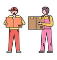 delivery orders and cargo couriers with boxes vector image vector image