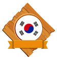 flag of south korea on wooden board vector image vector image