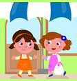 girls meeting to do shopping vector image vector image