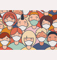 group people characters faces in white medical vector image