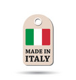 hang tag made in italy with flag on white vector image vector image