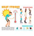 heat stroke and summer sunstroke risk symptom and vector image