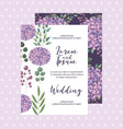 hydrangea flowers decoration floral wedding card vector image vector image