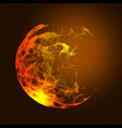 low poly fire flame sphere futuristic energy vector image