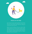 man walking with dog in park circle poster vector image vector image